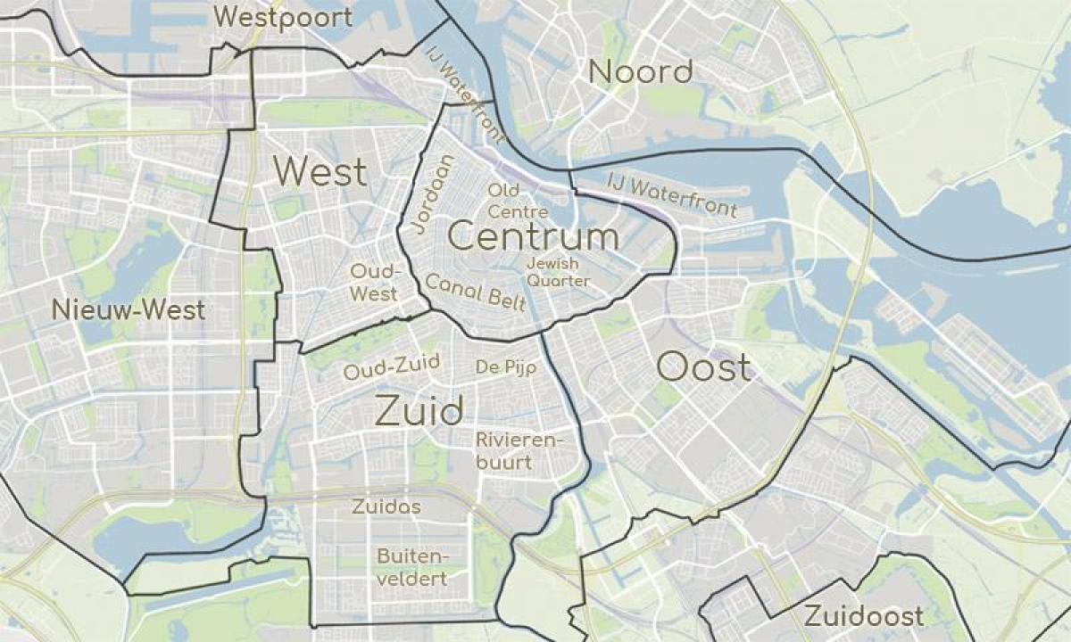 Amsterdam Distrikter Kort Kort Over Amsterdam Viser Distrikter