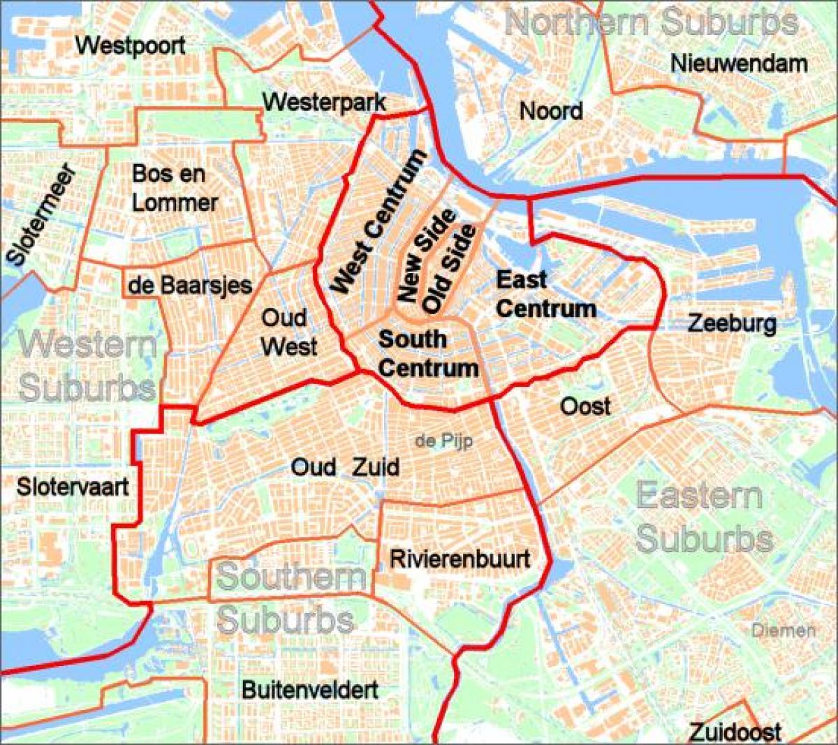 Amsterdam Forstaeder Kort Kort Over Amsterdam Forstaeder Holland