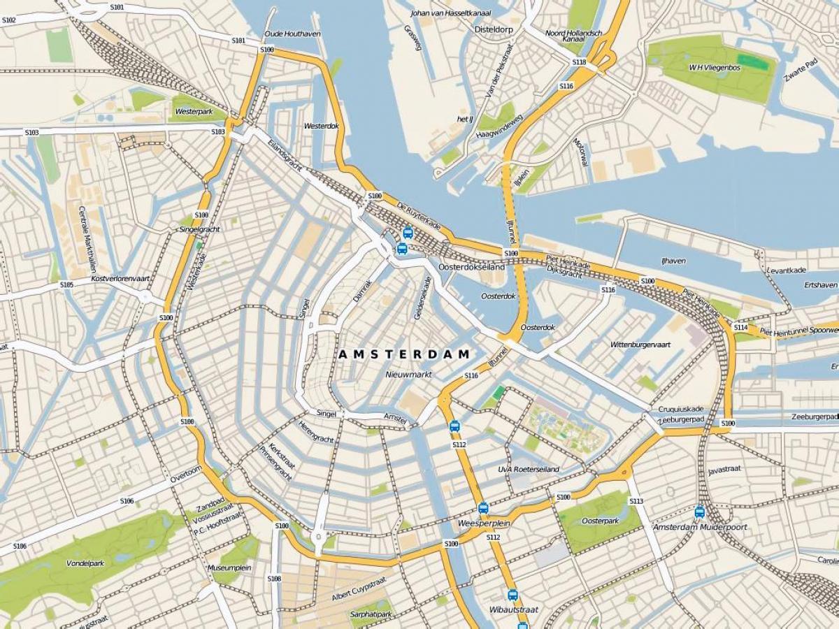 Et Kort Over Amsterdam Detaljeret Kort Over Amsterdam Holland