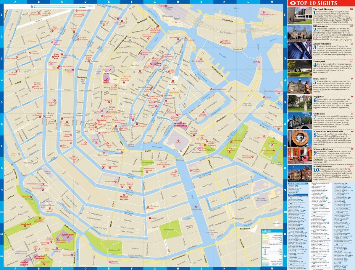 Turist Kort Over Amsterdam City Centre Amsterdam City Kort Med
